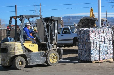 Aluminum bale and forklift