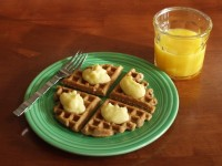Waffles with Lemon Curd and Orange Juice