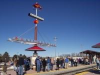 Passengers waiting at the Rail Runner Express Santa Fe South Capitol Station