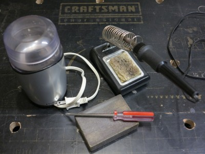 Repaired Coffee Grinder and Tools