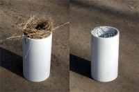 Thermometer Shield with and without bird nest