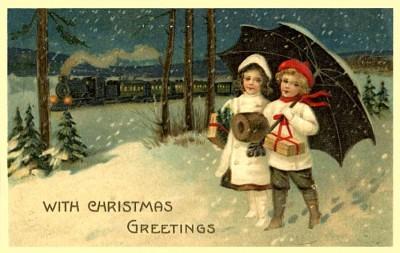 Vintage Train Christmas card